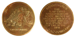 00147 GETTONE JETON TOKEN ADVERTISING DINO COINS PALEONTOLOGY STEGOSAURUS - USA