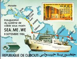 1986  Djibouti  Cable Communications Ships Map Souvenir Sheet Complete Set Of 1  MNH - Djibouti (1977-...)