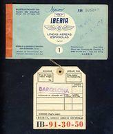 Billet D'avion Et Etiquette De Valise Vol Barcelona - Palma De Mallorca 1951 (Ref. 114030) - Europe