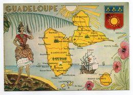 Guadeloupe -- Carte Géographique Des Routes Principales (illustrée,blason) - Guadeloupe