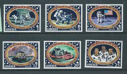 Liberia 1971 Apollo 14 Space Mission Moon Landing Set 6 MNH - Space