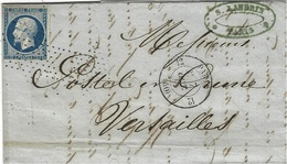 1855- Lettre De Paris  Cad De Route 12  Affr. N°14 Oblit. Roulette D'étoiles  Pour Versailles - Storia Postale