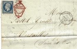 1855- Lettre De Paris  Cad De Route 12  Affr. N°14 Oblit. Roulette D'étoiles  Pour Versailles - 1849-1876: Periodo Classico