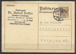 Austria, Stationery Card, Leoben To Hafning, 1937. - Ganzsachen