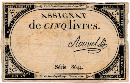 H35 - FRANCE - ASSIGNAT DE 5 LIVRES - 10 Brumaire De L'An II - Assegnati