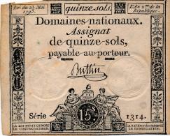 H35 - FRANCE - ASSIGNAT DE 15 SOLS - 23 MAI 1793 - Assegnati