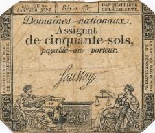 H35 - FRANCE - ASSIGNAT DE 50 SOLS - Payable Au Porteur - Assegnati