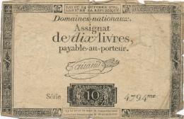 H35 - FRANCE - ASSIGNAT DE 10 LIVRES - Payable Au Porteur - Assegnati