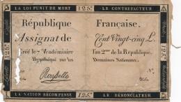 H35 - FRANCE - ASSIGNAT DE 125 LIVRES - Hypothéqué Sur Les Domaines Nationaux - Assegnati