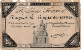 H35 - FRANCE - ASSIGNAT DE 50 LIVRES - Hypothéqué Sur Les Domaines Nationaux - Assegnati