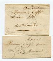 VOSGES De DARNEY 2 LSC Du 16/07/1850 Et 06/09/1850 Avec Dateur T 14 Et Taxe Tampon De 25 - Marcophilie (Lettres)