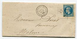 SEINE ET MARNE De DONNEMARIE EN MONTOIS LAC Du 10/09/1869 Avec N°29 Oblitéré GC 1325 - Marcophilie (Lettres)