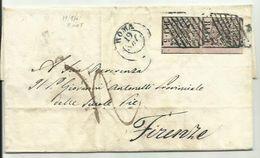 AS026-Lettera Da Roma Per Firenze 19.9.1861 Con Coppia 5 Baj Stemma N. 6 B.d.interspazio A Dx - Stato Pontificio