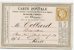 SEINE ET MARNE De DONNEMARIE EN MONTOIS GC 1325 Sur N°59 Sur CP Du 19/02/1875 - Marcophilie (Lettres)