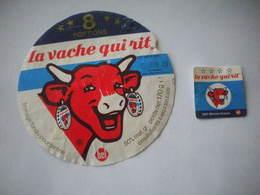 2 étiquettes De Fromage Pour Tartine BEL 1985  La Vache Qui Rit 8 Portions Et Mini  Portion Carré - Kaas