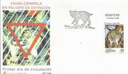 """España. 1998. Fauna Española En Peligro De Extinción """"Lince Ibérico"""" Y Centenario Del Atletic Club De Bilbao. - FDC"""
