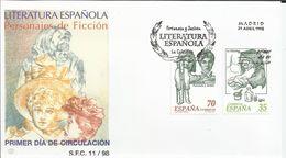 """España. 1998. Literatura Española. Personajes De Ficción. """"La Celestina Y Fortunata Y Jacinta"""" Y Barcos De época. - FDC"""