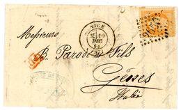 ALPES MARITIMES LAC 1868 40C EMPIRE DENTELE OBLIT GC NICE + T17 => ITALIE - Marcophilie (Lettres)