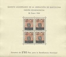ESPAÑA BARCELONA 1943 IV ANIVERSARIO DE LA LIBERACION DE BARCELONA EDIFIL 60  ** MNH - Barcellona