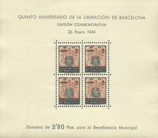 ESPAÑA BARCELONA 1943 IV ANIVERSARIO DE LA LIBERACION DE BARCELONA EDIFIL 60  ** MNH - Barcelone