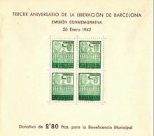 ESPAÑA 1942 BARCELONA Edifil 39 ** MNH Tercer Aniversario De La Liberacion De Barcelona Emision Conmemorativa. - Barcelone
