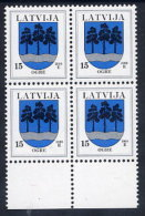 LATVIA  2000 15 S. Ogre With Year Date 2000 Block Of 4  MNH / **.  Michel 495 II - Latvia