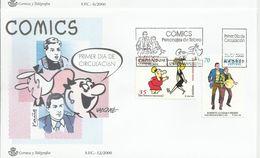 España. 2000. Comics. Personajes Del Tebeo. Las Hermanas Gilda Y Roberto Alcazar Y Pedrín, 700 Aniversario De La Villa D - FDC