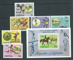 Liberia 1976 Montreal Olympic Games Set 6 & Miniature Sheet MNH - Summer 1976: Montreal