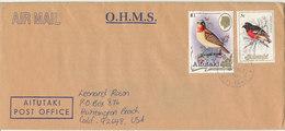Aitutaki O.H.M.S Air Mail Cover Sent To USA 8-2-1990 Topic Stamps BIRDS - Aitutaki