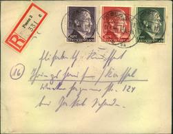 1944, Einschreiben Mit 1,2 Und 3 Mark Hitler Zähnung A Ab POSEN 2 - Germany