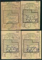 GENERALGOUVERNEMENT, 4 Einlieferungsscheine WARSCHAU C 1 Mit Unterschiedlichen Buchstaben - Besetzungen