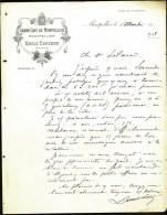 FACTURE OU LETTRE ANCIENNE DE MONTPELLIER- 19??- GRAND CAFÉ DE MONTPELLIER- BELLE ILLUSTRATION- 2 SCANS- - Levensmiddelen
