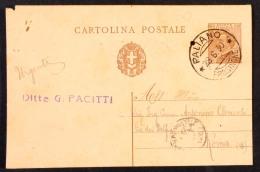 DCC030 - REGNO - CARTOLINA POSTALE CENT 30 - DA PALIANO-FROSINONE A ROMA 28 6 1930 - 1900-44 Victor Emmanuel III.