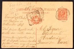 DCC054 - REGNO - CARTOLINA POSTALE CENT 10 - PALIANO PER ROMA 12 9 1909 - VARIETA' TAGLIO SPOSTATO IN ALTO - 1900-44 Victor Emmanuel III