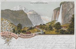 GRUSS VOM STAUBBACH → Alte Lithokarte Von Lauterbrunnen Nach Landau (Pfalz) Anno 1898    ►RRR◄ - BE Bern