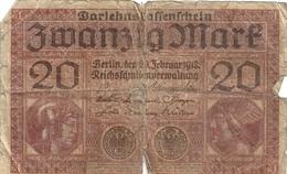 DARLEHENSKASSENSCHEIN ( Billet De Pret D'etat 1914-1922 ). 20 ZWANZIG MARK .  20-2-1918 . N° K.5336108 . 2 SCANES - [ 3] 1918-1933 : República De Weimar
