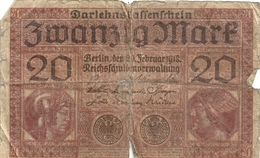 DARLEHENSKASSENSCHEIN ( Billet De Pret D'etat 1914-1922 ). 20 ZWANZIG MARK .  20-2-1918 . N° K.5336108 . 2 SCANES - [ 3] 1918-1933 : République De Weimar