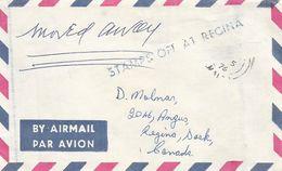 Canada 1976 Regina Saskatchewan Instructional Handstamp Cover Stamp Lost Malta - Postal History