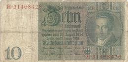 REICHSBANKNOTE . 10 REICHSMARK . 22-1-1929 . N°  H. 31468426 . 2 SCANES - [ 3] 1918-1933 : Weimar Republic
