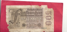 REICHSBANKNOTE . 500 MILLIONENMARK . 1-9-1923 . N° 198084 . 2 SCANES - [ 3] 1918-1933 : Weimar Republic