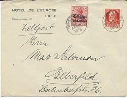 LETTRE DE LILLE AVEC AFFRANCHISSEMENT MIXTE TIMBRE D'OCCUPATION / TIMBRE DE BAVIERE - 1. Weltkrieg 1914-1918