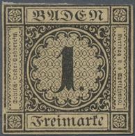 (*) Baden - Marken Und Briefe: 1851, Ziffernausgabe 1 Kr. Schwarz Auf Mittelgelbbraun Mit Dickem Papier - Baden
