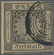 O Baden - Marken Und Briefe: 1851, 1 Kreuzer Gestempelt Vom Bogenrand Links Mit Kurzbefund Brettl BPP - Baden