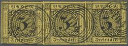 O Baden - Marken Und Briefe: 1851, Ziffernausgabe 3 Kr. Dünnes Papier, Erste Auflage Im Waagrechten Dr - Baden