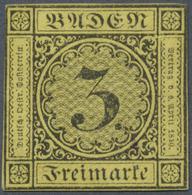 (*) Baden - Marken Und Briefe: 1851, Ziffernausgabe 3 Kr. Schwarz Auf Gelb Mit Dickem Papier Der 2. Aufl - Baden
