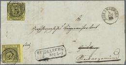 """Br Baden - Marken Und Briefe: 1851, 3 Kr. Schwarz Auf Gelb Mit Nummer """"99"""" Auf Komplettem Faltbrief Aus - Baden"""