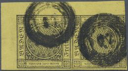 O/ Baden - Marken Und Briefe: 1852, Senkrechtes Paar Mit Breitem Rechten Oberen Eckrand, Dabei Handbuch - Baden