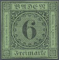 (*) Baden - Marken Und Briefe: 1851, Ziffernausgabe 6 Kr. Schwarz Auf Gelbgrün Mit Dickem Papier Der 2. - Baden