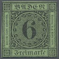 (*) Baden - Marken Und Briefe: 1851, 6 Kr. Schwarz Auf Gelblichgrün, Dickeres Papier (2. Auflage), Ungeb - Baden