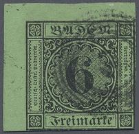 O Baden - Marken Und Briefe: 1852, 6 Kr. (dunkel)gelblichgrün Als Linke Obere Bogenecke Mit Nummernste - Baden